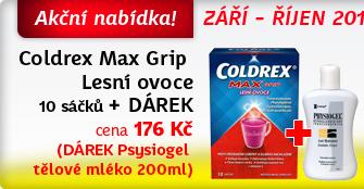 Coldrex Max Grip Lesní ovoce 10 sáčků + DÁREK Physiogel tělové mléko 200ml ZDARMA