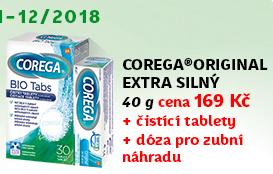 Corega Original extra silný 40g (Copack balení) + NAVÍC: Corega Bio Antibakteriální tablety 30 ks