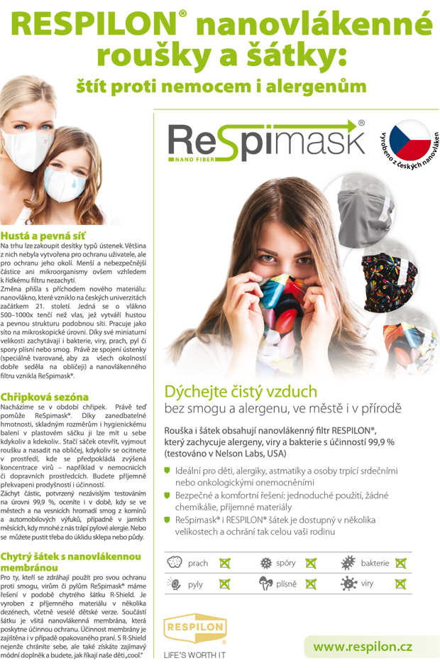 Antivirový šátek RESPILON® – chraňte se českým nanovláknem proti nemocem